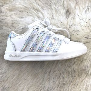 KSwiss Boy or Girl Silver & White Stripped Sneaker
